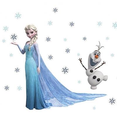 Naklejka na ścianę Kraina Lodu – Elsa i Olaf
