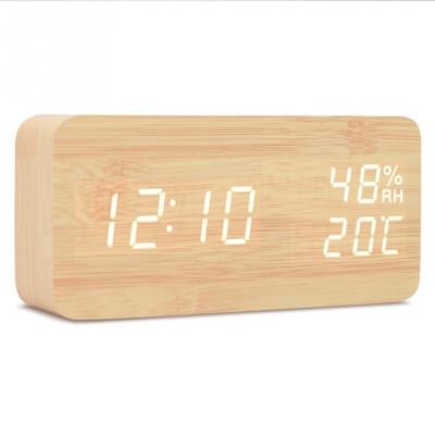 Drewniany zegarek/budzik LED