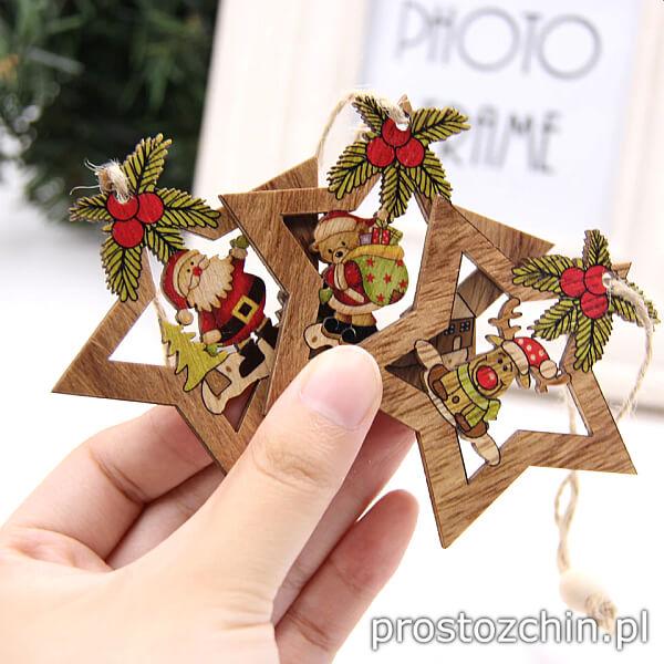 Cztery drewniane ozdoby Świąteczne